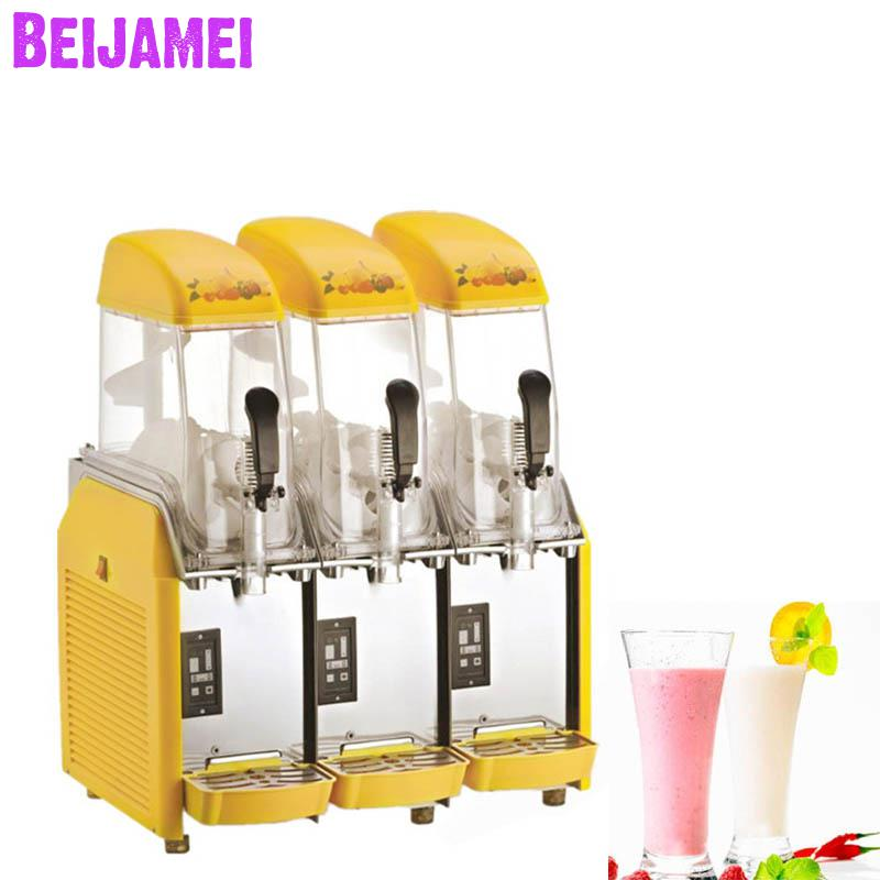 Beijamei Commercial Ice Snow Slush Machine 3 Tanks Desktop Electric Snow Mud Smoothie Machines For Sale