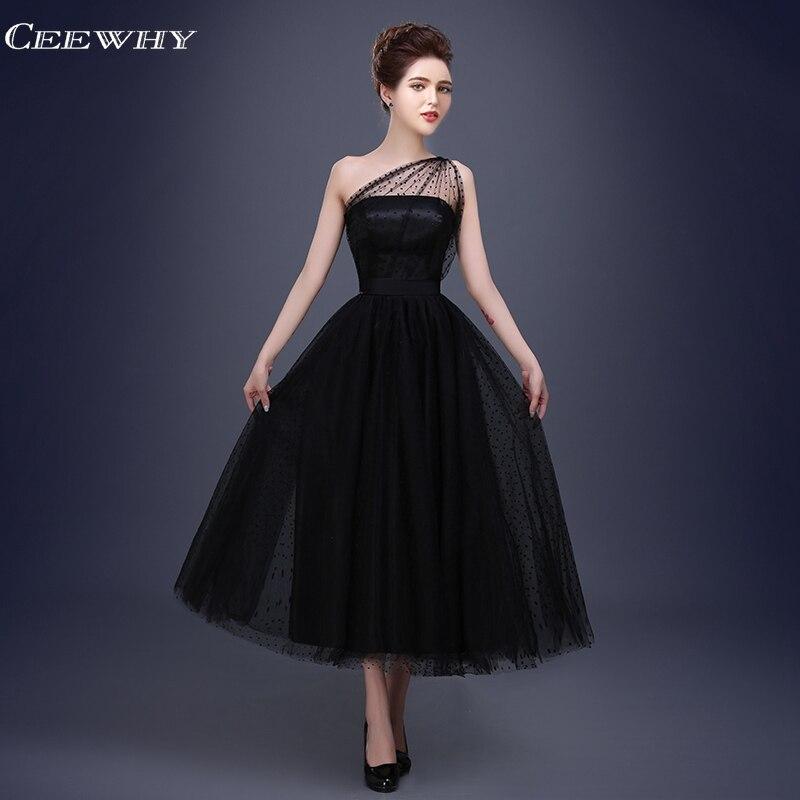̀ •́ CEEWHYBlack un hombro sin mangas A-Line Formal vestidos De ...