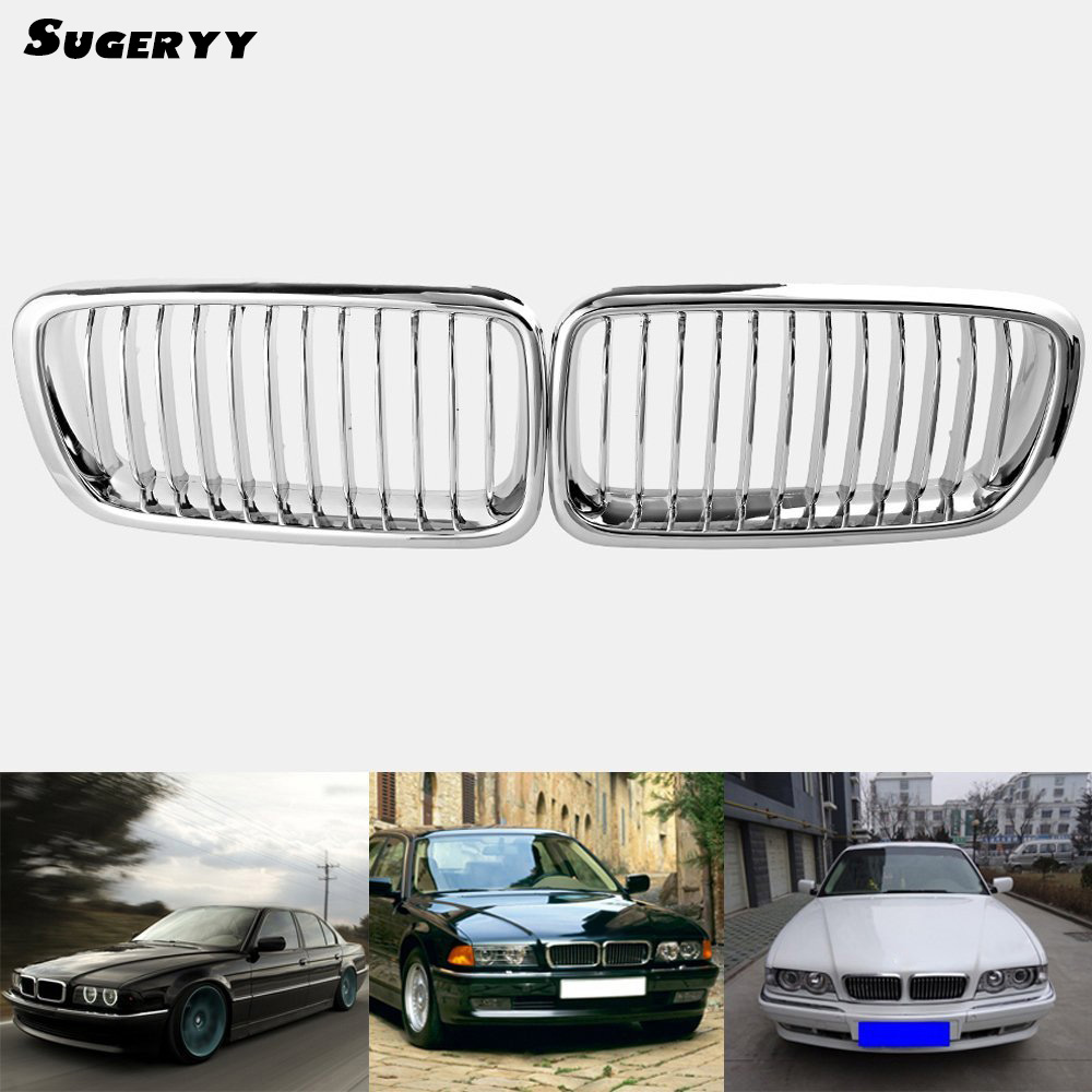 SUGERRY New 1 Pair Matte Silver Front Hood Kidney Sport Grille Grills Fit For BMW 7-Series E38 1995-2001 Car-styling Accessories цена