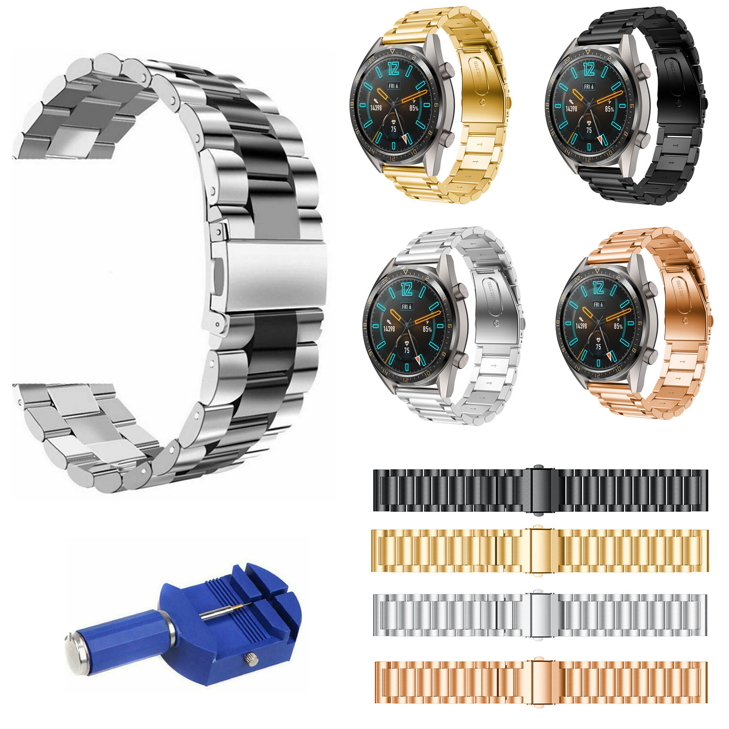22mm Stainless Steel Band For Huawei Watch GT Strap Silver Black Metal Replacement Watchband Wristband Bracelet