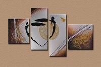 Pintado a mano abstracta de la lona pintura moderna set Pintura Del Arte para la Sala de estar Dormitorio Decoración Pinturas Pared del amante del baile de 4 unidades
