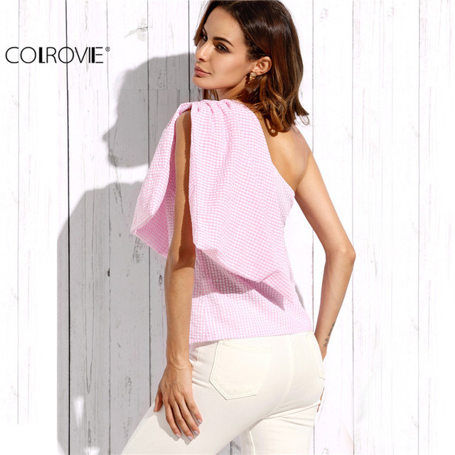 COLROVIE Pink Plaid Sleeveless Bow One Shoulder Blouse Ladies Cute Shirt Autumn Fashion Top Women Vogue Blouse