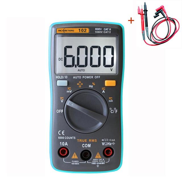 LCD Digital Multimeter With Test Leads 6000 Counts Volt Tester Auto Ranging AC DC Voltage Ammeter RM101 RM102
