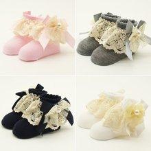 Фотография Cute Baby Flowers Lace  Big Chiffon Socks 100% Cotton Socks Absorb Sweat Baby Soft Warm Scoks