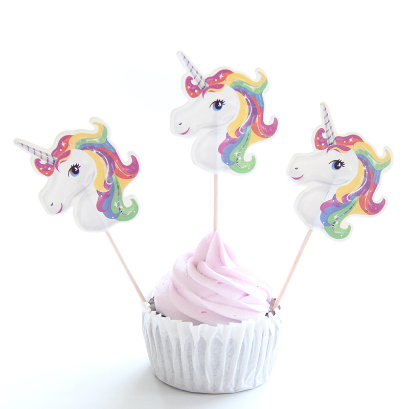 24pac/lot Unicorn Party Cupcake Topper Happy Birthday Party Baby Shower Children Party Decor Kids Cake Decor Supplies unicorn party birthday decorations unicorn party 20cm artificial rose flowers banner cake topper baby shower party cake decor