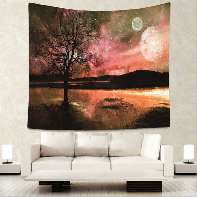 JAEBAEK 130150cm Beautiful Night Sky Beach Scarf Pashmina Forest Starry Wall Hanging Tapestry