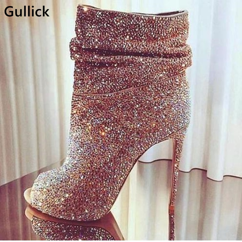 Sexy Peep Toe Women Bling Bling Crystal Short Boots Stiletto Heels Ankle Boots Shining Diamond Woman Banquet Dress Pumps