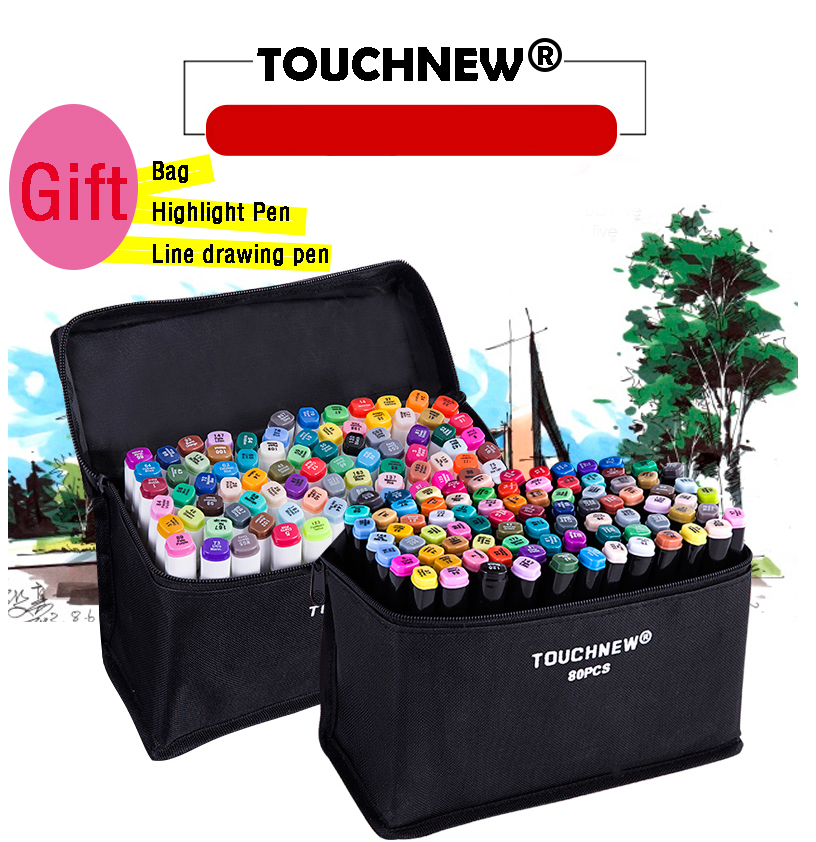 Touchnew 40/60/80 Artist Dual-headed Oily Manga Design School Drawing Sketch Markers Set With Gifts Art Supplies touchnew 30 40 60 80 168 colors artist dual headed marker set manga design school drawing sketch markers pen art supplies