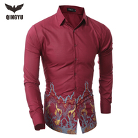 2018 New Brand Dress Shirts Men S Shirt Slim Fit Male Print Shirts Homme Long Sleeve