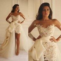 New Wedding Dresses Short 2018 Sheath Long Sleeves Detachable Train Appliques Lace Bridal Wedding Gown Bride Dress Bruidsjurken