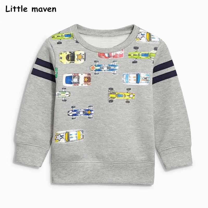 Little maven baby boys clothes 2017 autumn children cotton long sleeve car print thick grey t shirt C0041