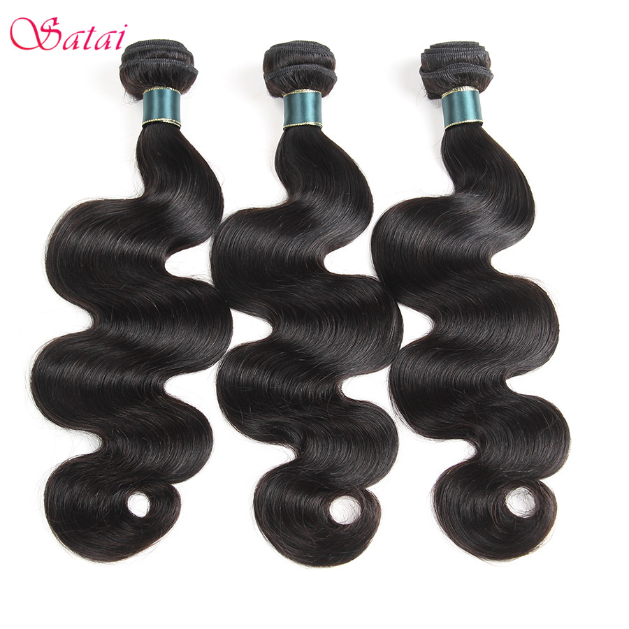 SATAI Peruvian Body Wave Human Hair Bundles 3 Pcs Natural Color Peruvian Hair Bundles No Tangle 8-28inch Non Remy Hairs