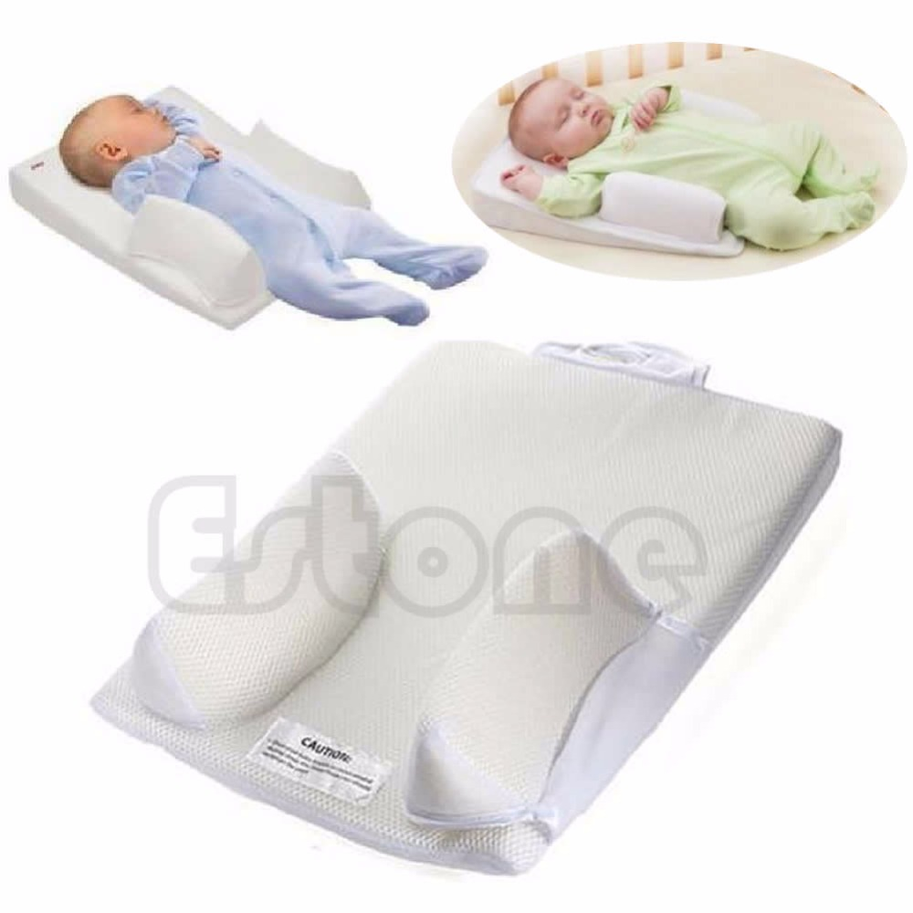 Newborn Baby Infant Sleep Positioner Prevent Flat Head Shape Anti Roll Pillow