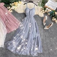 2019 New Sweet Bling Sequined Dress For Women Sexy Spaghetti Strap V neck Chest Pad French Gentle Summer Mesh Maxi Long Dress