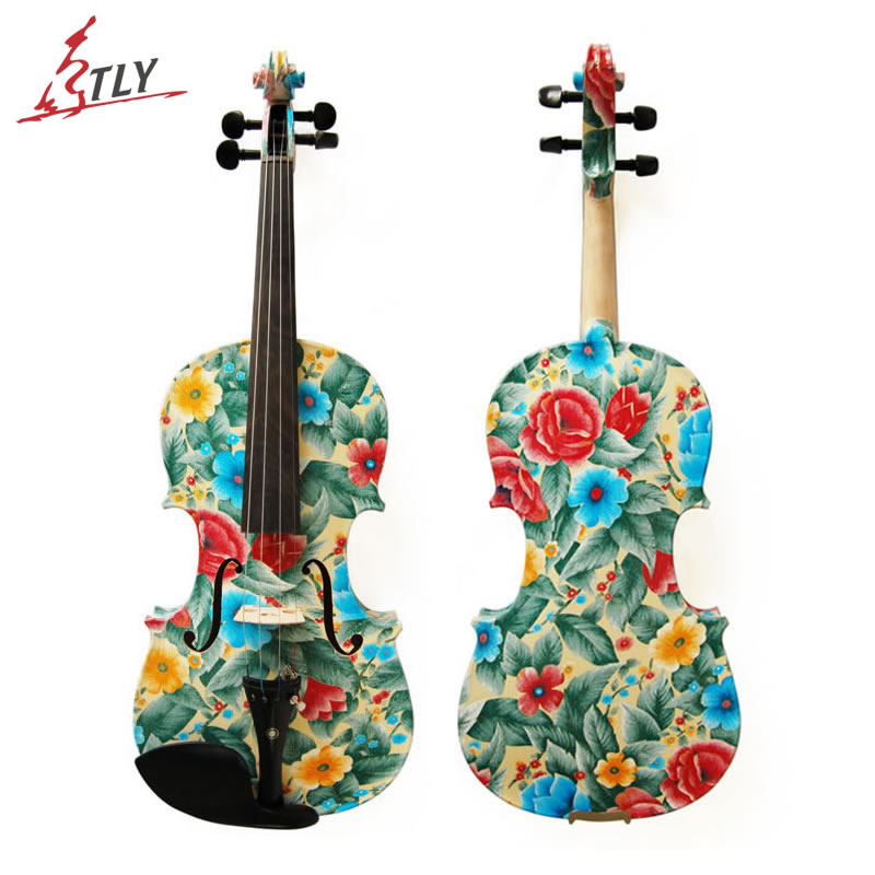 Kinglos Flowers Painted Acoustic Art Violin 4/4 Ebony Fittings Handcraft Maple Violin w/ Shoulder Rest Case Bow Rosin(LY-1102) kinglos antique acoustic violin 4 4 beethoven carved maple art violin ebony fittings with shoulder rest case bow rosin bridge
