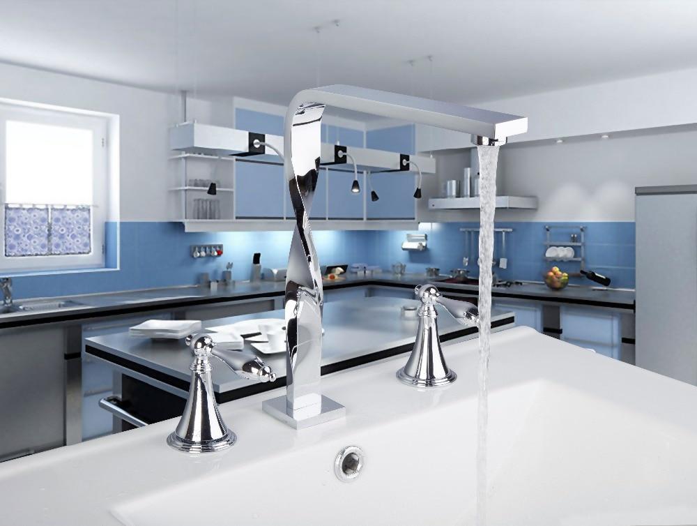 ФОТО 56H Luxury Chrome Construction Waterfall Deck Mounted Bathroom Basin Sink Bathtub Double Handles Mixer Tap Faucet