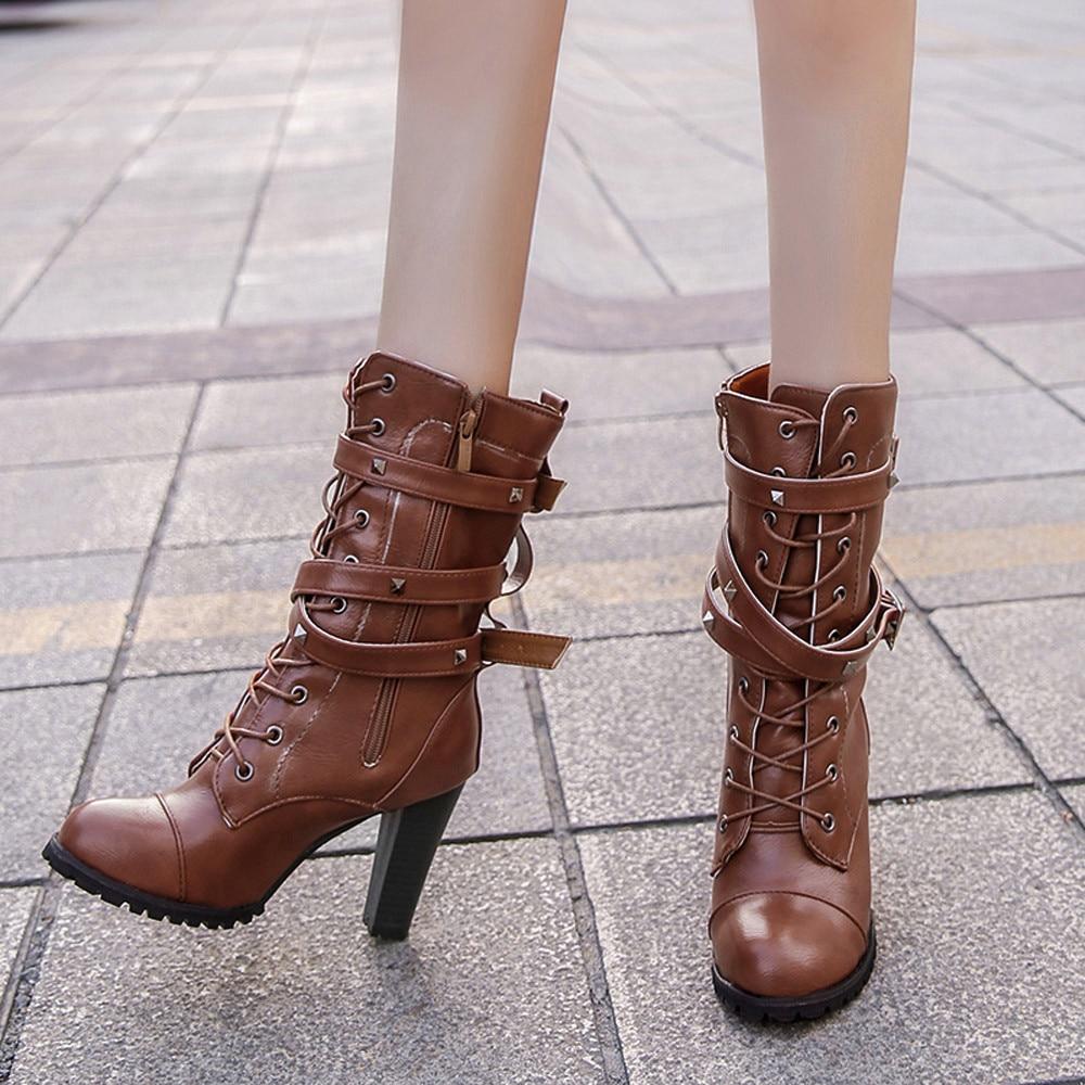 shoes Boots Women Ladies Classics Rivet Belt High Heels Mid-Calf Boots Shoes Martin Motorcycle Zip boots women 2018Oct31 28