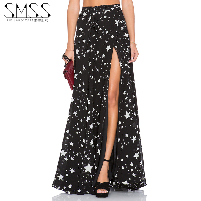 Summer 2016 Women Long Chiffon Skirt Female Fashion Sexy Stars Printing High Waisted High Split Maxi Skirt Beach Saias 3xl