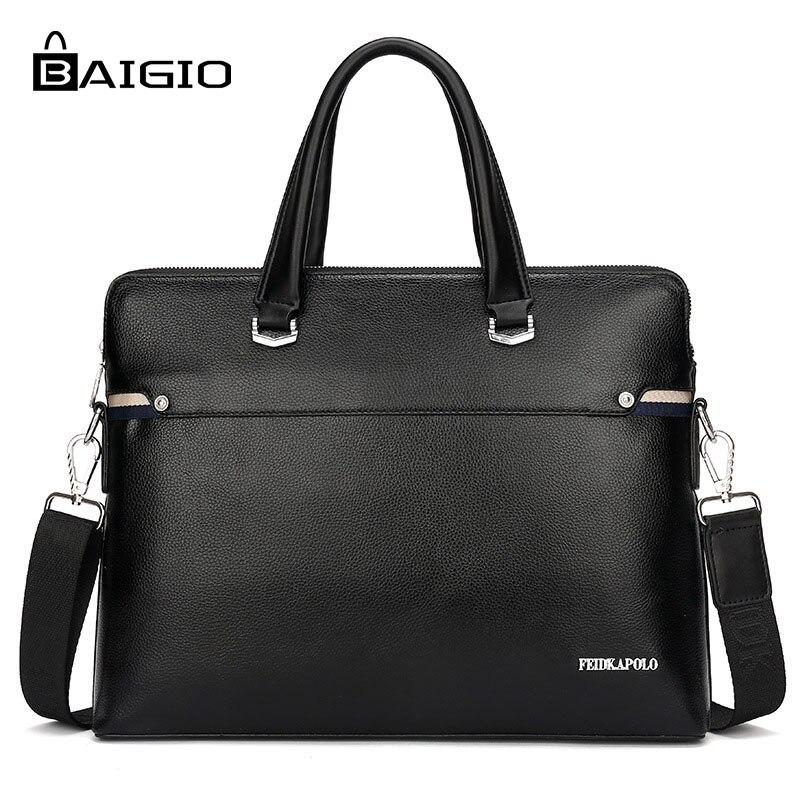 Baigio Mens Briefcases Bag 2018 Brand Bussiness Purse PU Leather Shoulder Bags Brown Black Male Portfolio Computer Maleta Ba