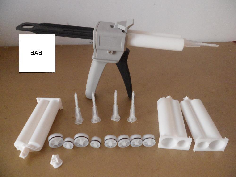 цена на Epoxy resin AB Glue caulking Gun/cartridge 50 ML 2:1 & 1:1 Universal Manual Dispense mixing Gun with Cartridge & Mixing Nozzle
