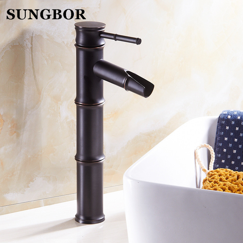 Black Oil Rubbed Bronze Bamboo Shape Bathroom Basin Faucet /Single Handle Single Hole Deck Mounted Vessel Sink Mixer Taps free shipping single hole basin faucet oil rubbed bronze finished bathroom sink mixer taps with pop up drain