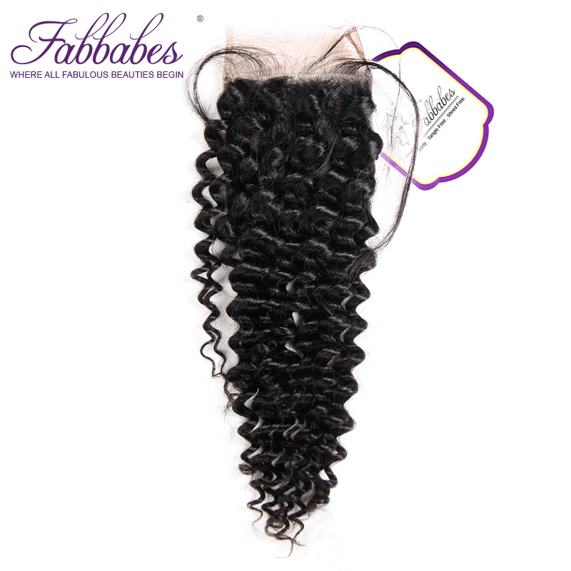 Fabbabes Human Hair Curly Wave Closure 4x4 Lace Closure with Baby Hair Brazilian Remy Hair Products Free Shipping