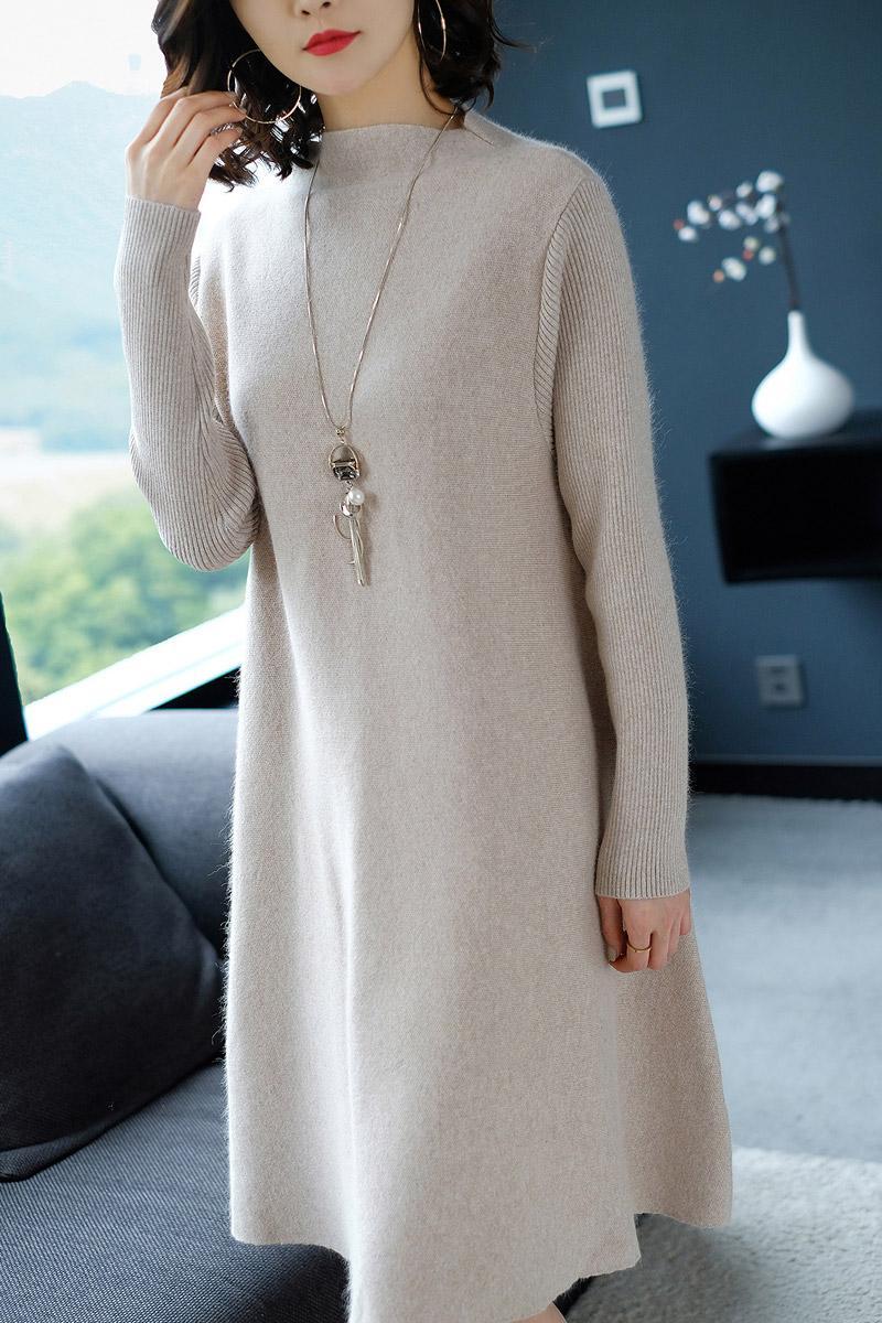 Femmes robe hiver lâche Style cachemire tricoté robes 2018 nouvelle mode automne chaud Long pull robe femme épais tricots - 6