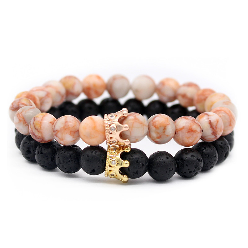 8d9e77c0a1 Poshfeel 2pcs 8mm Natural Stone Beads His and Hers Couple Bracelets Crown  Bracelets For Lovers Handmade Pulsera MBR180111