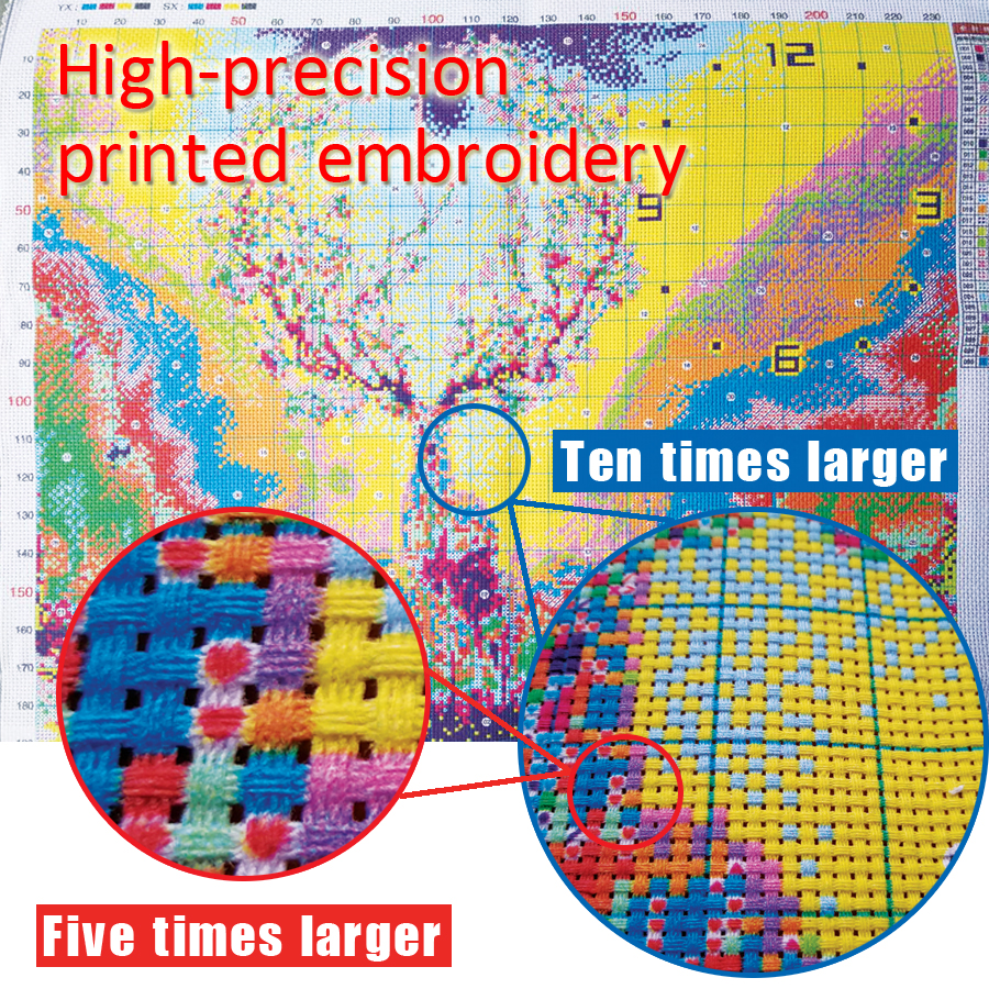 KAKA Cross Stitch Kits,5D Fish Swimming Animals,Embroidery Needlework Sets With Printed Pattern,11CT Canvas,Home Decor Painting