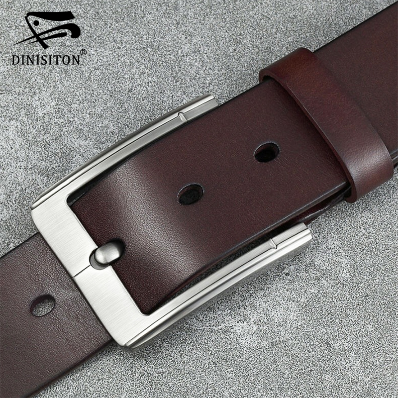 DINISITON Men Belt Cow Genuine Leather High Quality Designer Luxury Strap Male Belts For Man Fashion Classic Vintage Pin Buckle