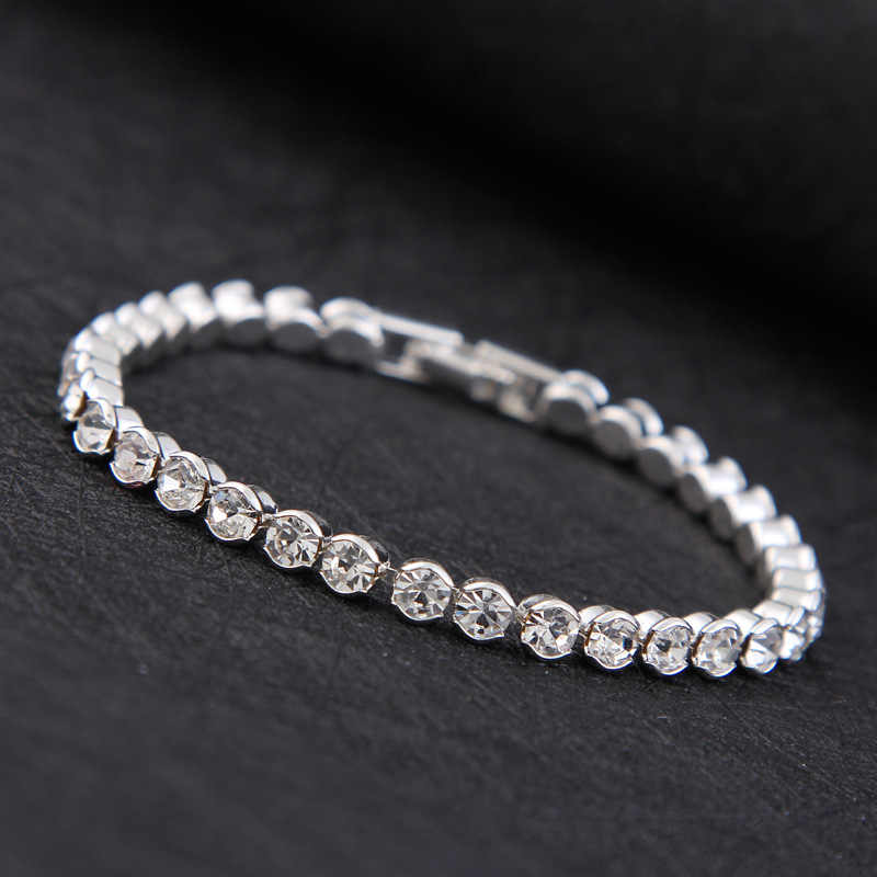2018 New Luxury Shiny Austria Crystal Tennis Bracelets For Women Silver Gold Color Bangle Collier Femme Bridal Wedding Jewelry