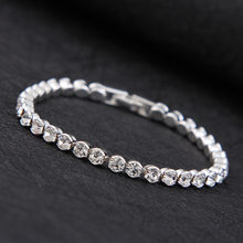 2018 New Luxury Shiny Austria Crystal Tennis Bracelets For Women Silver Gold Color Bangle Collier Femme Bridal Wedding Jewelry(China)