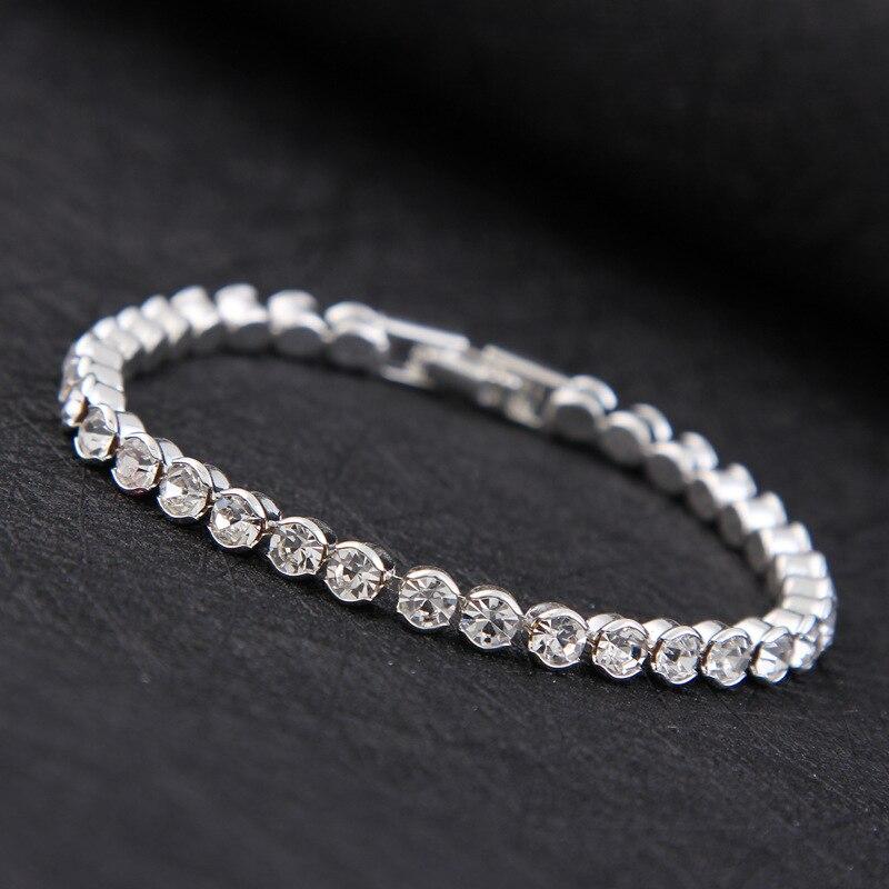 2018 nouveau luxe brillant autriche cristal Tennis bracelets pour Femme argent or couleur bracelet Collier Femme mariée bijoux de mariage