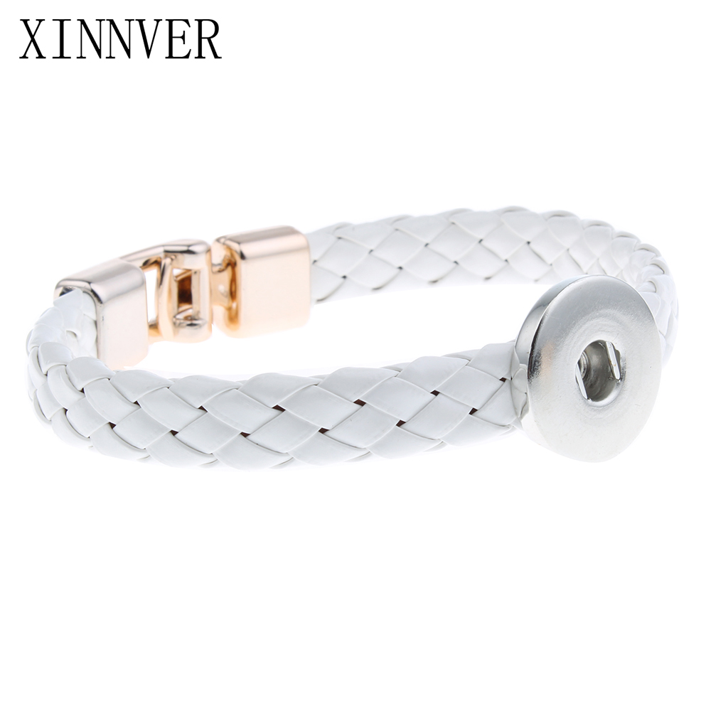 Hot Sale 2 Color Braided PU Leather Bracelets For Women 18mm Snap Buttons Bracelet Magnet Clasp Xinnver Snap Jewelry ZE191