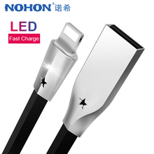 NOHON Zinc Alloy USB Charger Cable Fast Charging For iPhone XS MAX XR X 8 7 6 Plus iPad Mini Phone Lighting Charge Data Cord