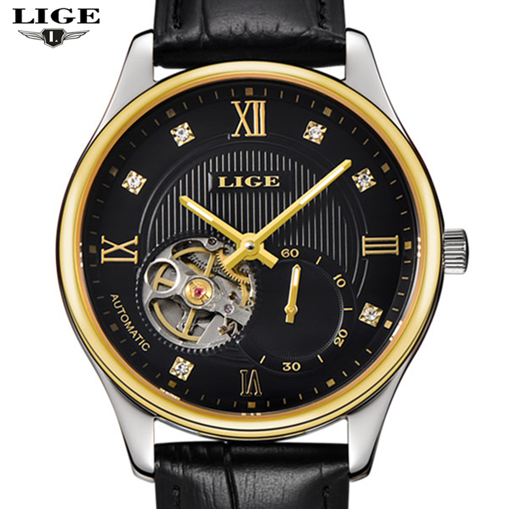 2017 men's watches lige brand men's luxury mechanical watch classic leather strap...