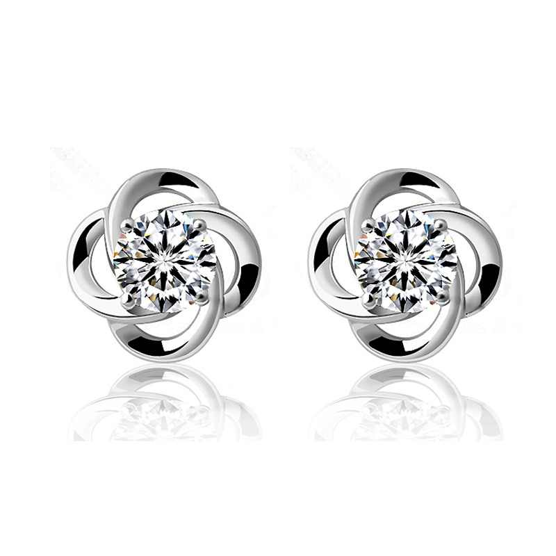Elegant Fashion 925 Sterling Silver Stud Earring AAA Grade CZ Crystal Flower Earrings Gift Jewelry For Woman Girl Jewelry