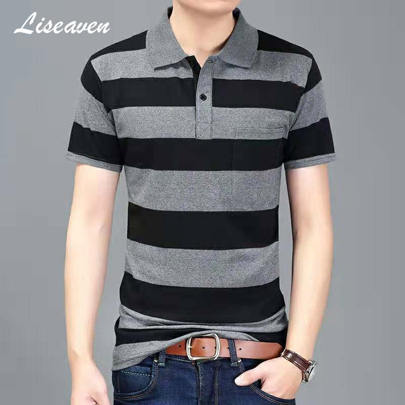 Liseaven Men Striped Polo Shirt 2019 Summer Short Sleeve Polos Men's Shirt Tops&Tees Brand Camisas Clothing For Men