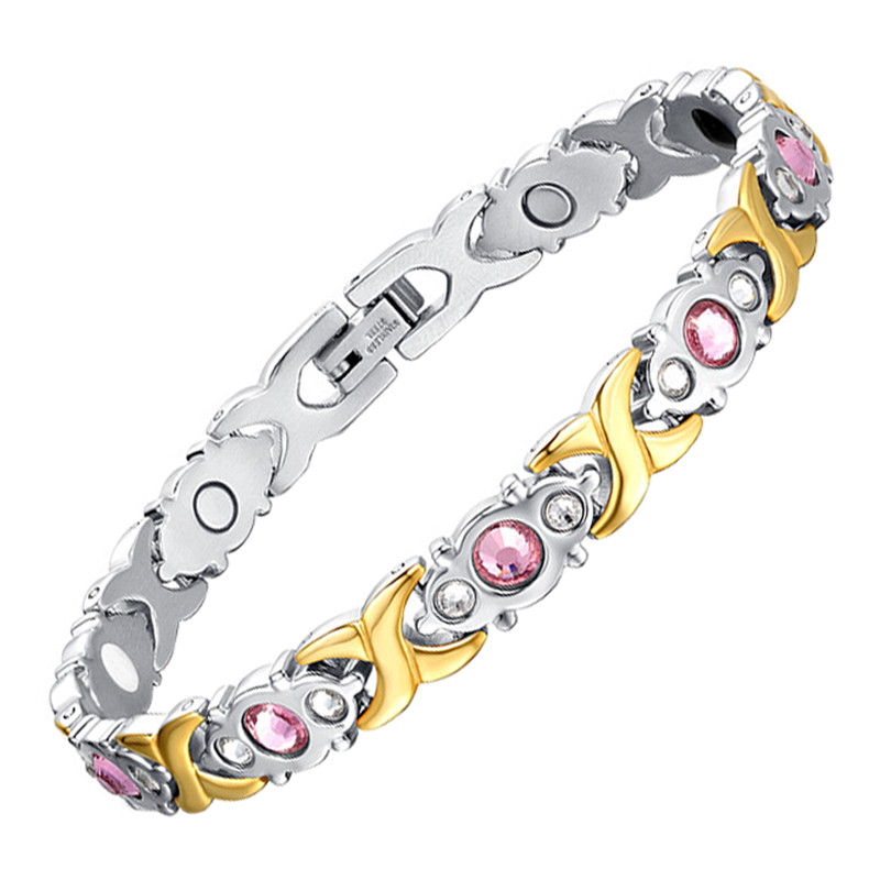 Drop Shipping Crystal Gem Women Bracelet Stainless Steel Health Energy Magnetic Fashion Jewelry Lady Bracelets Gift for Girls