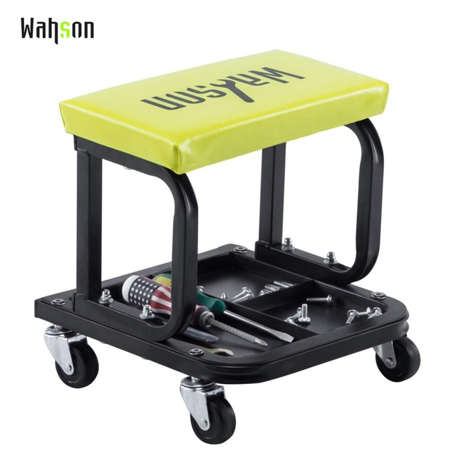 Garage Chair With Wheels Costco Patio Chairs Wahson Mechanic Roller Seat For Three Divisions Tool Tray Yellow Pneumatic Tire Repair Stool Creeper
