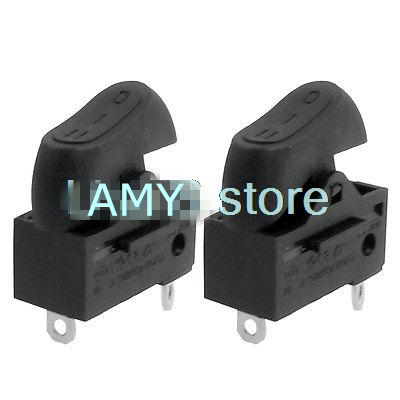 2Pcs Black or Red AC 250V 6A / AC125V 10A 3 Positions 3 Pins Terminal DPDT Rocker Switch KCD15-103 RK2-33 for Hair Dryer