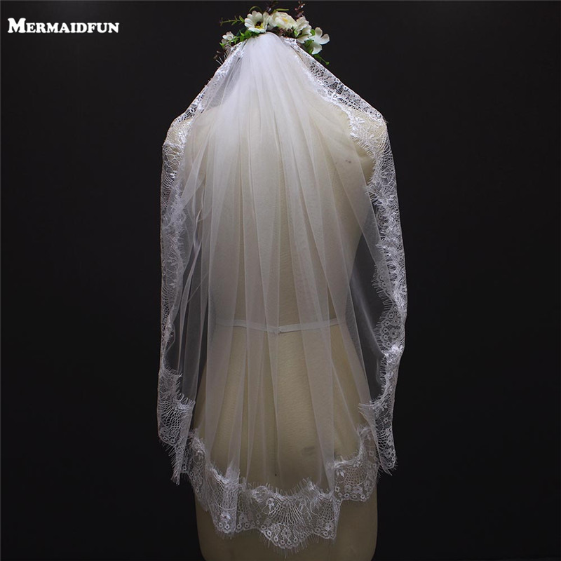 One Layer Eyelash Lace Bridal Veil White Ivory Short Wedding Veil Wedding Accessories Veu De Noiva With Lace