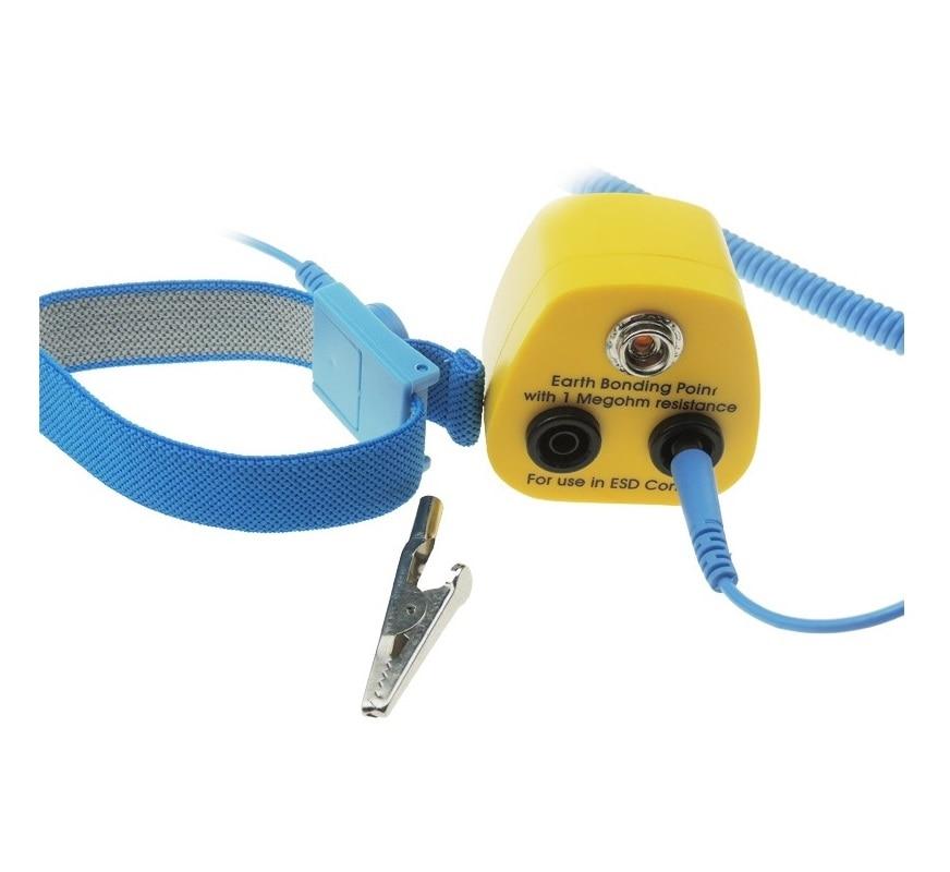 лучшая цена ESD Wrist Strap Fabric HQ ABS Anti Allergic Wrist Band Strap With Earth Bonding Plug 1.8meter and Anti Static Grounding Cord