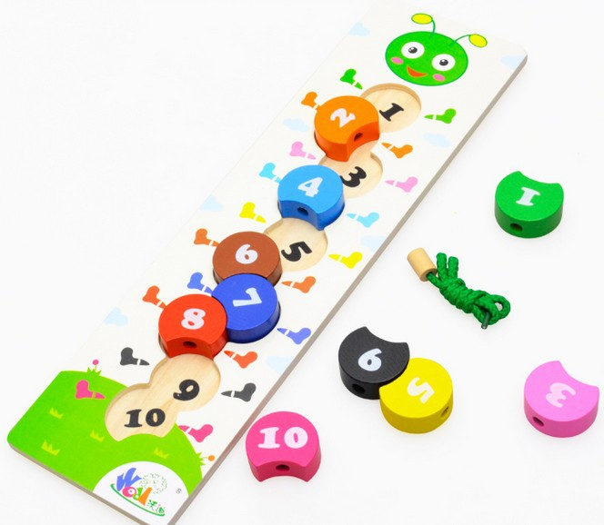 Wooden Learning Education Baby Toys Caterpillar Digital Bead Game Kids Montessori Caterpillar Number 1-10 Building Blocks Beads