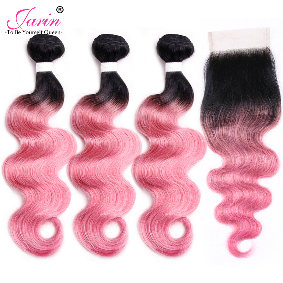 Jarin Malaysian Body Wave Hair Weave 3 Bundles With Lace Closure Free Part Ombre Pink Body Wave Human Hair Bundles With Closure