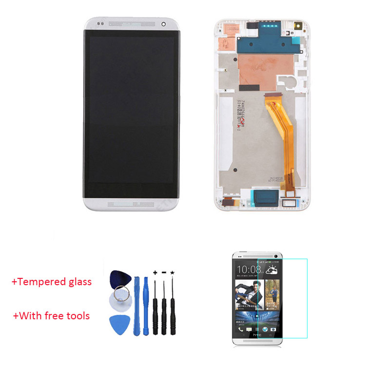OEM 100% Test LCD Touch Screen Digitizer + Frame Faceplate Bezel For HTC Desire 816 White With Free Tools + Tempered Glass