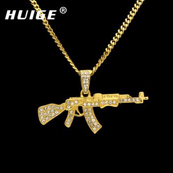Alloy AK47 Gun Pendant Necklace Iced Out Rhinestone With Hip Hop Miami Cuban Chain Gold Silver Color Men Women Jewelry
