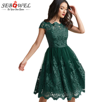 SEBOWEL Green Lace Embroidered Party Dress Women Elegant Prom Evening Gown Sexy Short Sleeve Pleated Dress Vestido De Festa