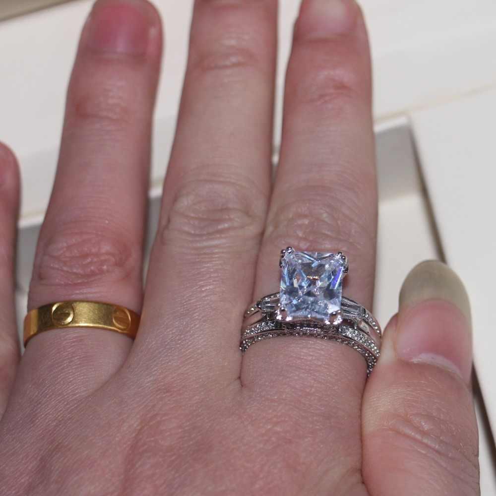 Vecalon ผู้หญิงเครื่องประดับขนาดใหญ่แหวนเจ้าหญิงตัด 10ct AAAAA หินเพทาย 300pcs CZ 925 เงินสเตอร์ลิงแหวนหมั้นของขวัญ