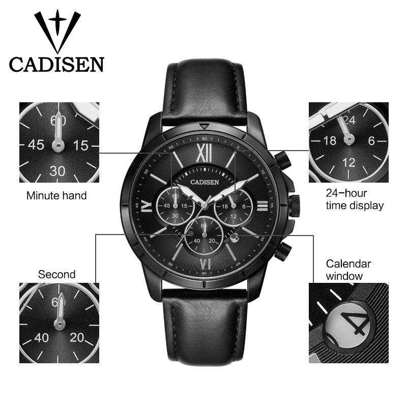 CADISEN Men Watches Chronograph Quartz Watch Mens Blue Leather Wrist watch relogios masculino in Quartz Watches from Watches